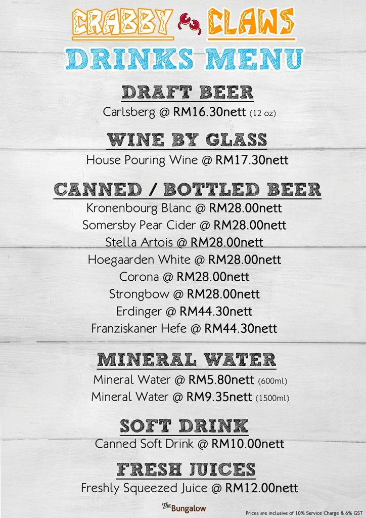 Crabby Claws Drink Menu Low Res